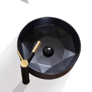 Art Badezimmer Sinks Mattschwarz Keramik Schiff Runde Waschbecken Schüssel über Gegen Moderne Lavatary Körper Zum Balkon Nutzung