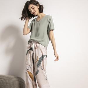 Summer Pajamas Set Women Comfortable Cotton Viscose Contrasting Color Pajamas Short Sleeve Tops with Long Trousers Ladies Pj Set CX200606