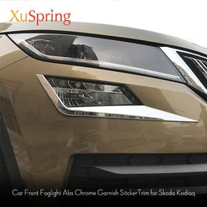 Para Skoda Kodiaq 2017 2018 2019 Car Frente Fog lâmpada de luz sobrancelha guarnição ABS Chrome Etiqueta Decore Tiras Car Styling