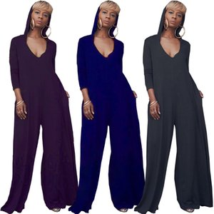 Women solid color jumpsuit Rompers summer clothing sexy & club gym full-length pants deep-v neck long sleeve Wide-legged pants stylish 0184