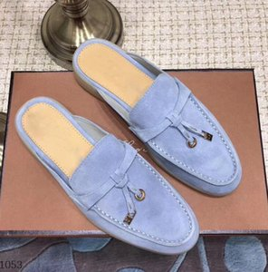 Amantes diseñador loro hombres zapatillas zapatos gamuza cuero Metal hebillas verano caminar Slip-On medias zapatillas mocasín perezoso 34-46