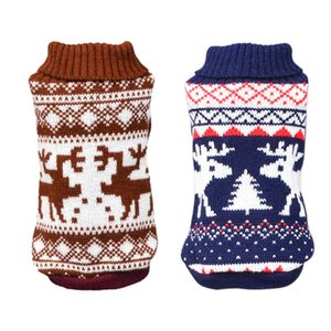 Warm Breathable Dog Clothes Thick Winter Sweater Christmas Cute Elk Dog Clothing Knitted Sweater for Dogs Deer Sweaters