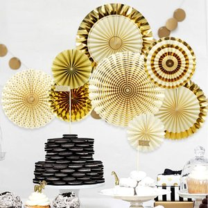 Umweltfreundlich 8pcs / Set Goldparty Dekorative Creative Paper Blume Fan Handgemachte gestreifte Folding Fan-Party Supplie Großhandel