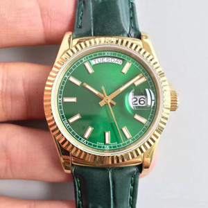 Reloj DAYDATE Classic 118138-L Serie 36MM Triángulo Grieta Bisel Movimiento automático Correa de cuero Hebilla plegable original Sapph