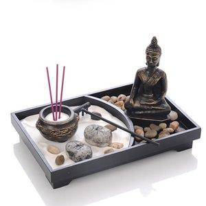 Buddha Statue Zen Garden Sand meditazione pacifica Relax Decor Set Spirituale Zen Garden Sand Tray Kit Buddha bruciatore di incenso