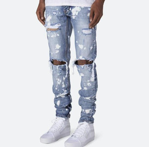 Stampati pantaloni foro Mens Jeans Summer Fashion Skinny Light Blue Pallido matita Lavato Hiphop Via dei jeans