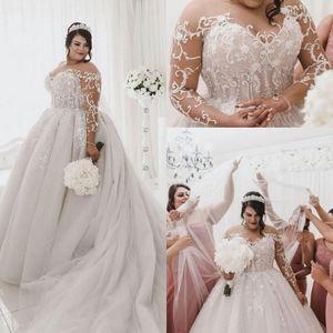 Tallas grandes Vestidos de novia 2020 Sheer Mangas largas Lace Appliqued Tulle Court Train Garden Una línea Vestido de novia