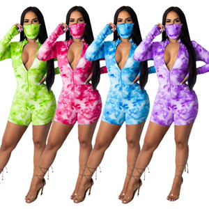 Women sports 2 piece Jumpsuits with face mask Tie-dye zipper pleated long sleeve Bodysuit tracksuits biker shorts Rompers jogging Onesies