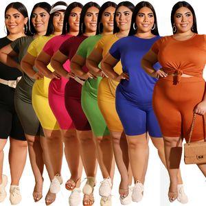 2020 Big Yards Femmes Shorts solides Tenues XL - 5XL T-shirt d'été Stretchy ras du cou manches courtes Survêtements Casual Plus Size Lady Sets