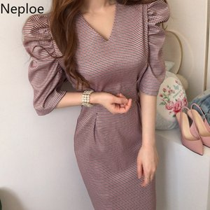 Neploe Korean Plaid Elegant Women Dress Half Puff Sleeve V-neck Dresses 2020 New Slim Split Sexy Vestidos Feminimos 4B764