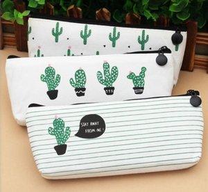 Yeni Cactus kalem çantası Pastoral Bandaj Tuval Kalem Kutusu bitki Makyaj Çantası Fermuar Kozmetik Kılıfı 21 * 9 cm Toptan
