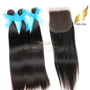 India Virgin Human Hair Wefts With Lace Closure Middle Part Silky Straight Natural Color 8-26 Inch Bellahair
