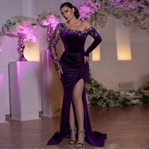 Пурпурные с плечевой русалки вечерние платья кружева аппликации бисером ручной работы цветок бархат выпускного платья платья