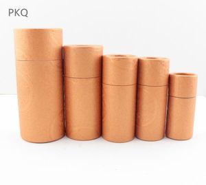 6 tailles Verre Bouteille Dropper Boîte Kraft papier d'emballage Tube rond Petit carton Boîtes Recyclable Brown Coffret cadeau Tube