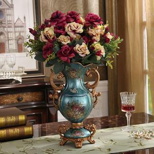 De lujo de Europa Palace Jarrón de resina ornamento principal de escritorio Figurines Crafts decoración de la boda regalo de American Retro seda Tiesto