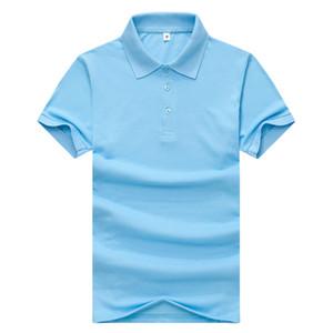 2019 Yaz Casual PİKE Katı Renk Yetişkin Erkek Yaka Polo Basit ve nefes alabilen Gök mavisi tişört JH-014-007