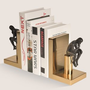 Lujosos sujetadores de libros europeos pensadores nórdicos artesanía Decoraciones de estanterías Imitación de metal Adornos de cobre Libros para mantenerlos en posición vertical