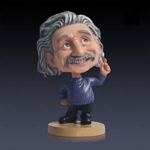 Einstein agitar sua cabeça boneca carro resina artesanato figuras carro artigos de decoração