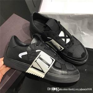 SS 2020 pour hommes et femmes Calfskin VL7N Sneaker avec des bandes, chaussures de sport plat avec Goujons surdimensionné chaussures de sport en cuir de veau avec boîte