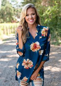 Yaz Spor Gömlek Kadın Moda Giyim Yeni Geliş Çiçek Baskılı Bayan V-Yaka Bluz Bahar