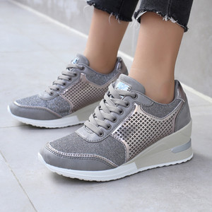 6.5CM Height Increasing Women Walking Shoes Big Size 36-42 Gold Athletic Sneakers for Ladies Super Light Sport Shoes for Girls