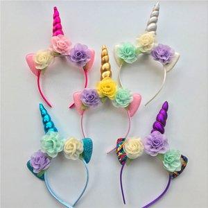 Acessórios Cabelo Partido chifre Glitter Metallic Unicorn alça Floristas Lantejoula Hairband For Kids folha Unicorn cabelo varas FFA3636