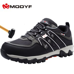MODYF Men's Steel Toe Work Safety Shoes Lightweight Breathable Anti-smashing Anti-puncture Non-slip Reflective Casual Sneaker CJ191205
