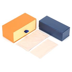 Occhiali da sole sovradimensionati Occhiali da sole Set di occhiali Set di occhiali Caso giallo Blu Hard Box Glasses Borsa e stoffa