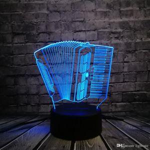 Veilleuse instrument de musique d'accordéon Lampe LED USB 3D romantique Multicolor Mood Atmosphère Table Décoration Enfants Jouets cadeau