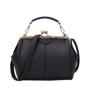 Nuovo retro di spalla della borsa della clip Borse borsa a tracolla Zipper Hasp Tote donne di spalla nero