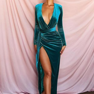 2020 New Women Winter Dress V-Neck Long Sleeve Empire Solid Color Sashes Dress Sexy Night Club Irregular Open Fork Dresses GL49