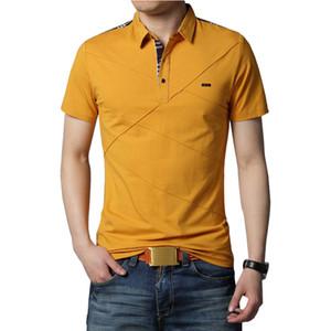 Mens T Shirts Fashion 2019 5XL Summer T Shirt Geometric Design Turn-down Collar Short Sleeve Cotton T-shirt Men Tee 5XL T200528