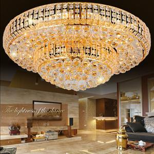 أضواء السقف الحديثة الكريستال الذهب LED لاعبا اساسيا الذهبي جولة كريستال مصباح السقف فندق اللوبي الرئيسية إضاءة داخلية 3 أبيض اللون للتغيير