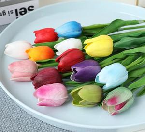 Latex Tulipani artificiale PU bouquet di fiori tocco reale fiori per la decorazione domestica Wedding Flowers decorativi 15 opzione di colori GB1029