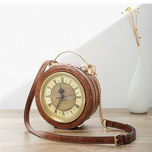 New Vintage Real Alarm Clock Women Shoulder Bag Women Casual Tote Bags High Quality Chain Circular Crossbody Bag
