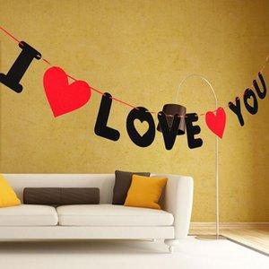 60set Red Heart Letters Nicht gewebte I Love Sie Banner Hochzeit Dekoration Anhänger Garland Foto Props Valentine Party Supplies