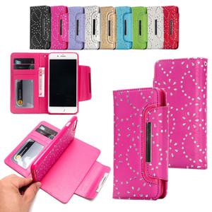 Para iPhone Xs Max Xr S10 Maple Leaf diamante caja de la carpeta de lujo del teléfono celular de la PU Funda de piel suave TPU tarjeta de crédito cubren las ranuras