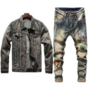 New Men Blue Vintage Define bordado guindaste coroado vermelho Buraco Distressed Denim Coletes + bordados Tiger Jeans Mens Clothing 2 Pieces Set