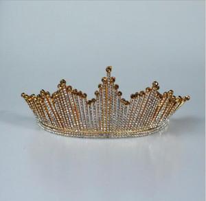 Tiara Accessori per capelli barocco sposa copricapo da Golden Crown Copricapo coreano atmosferica sposa strass Corona Annual Dinner