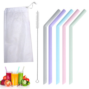 Food Grade Drinking Straw 7Pcs Reusable Silicone Drinking Straws Set Long Flexible Straws Cleaning Brushes Home Kitchen Bar Party Straws