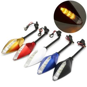Vendita calda 1 Coppia 10 millimetri Moto retrovisore laterale del vento Specchio di Luce indicatore LED segnale di girata