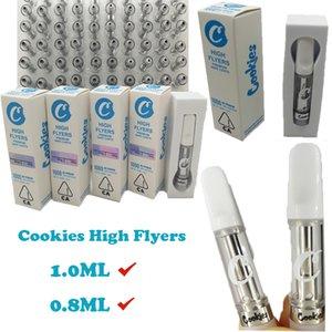Biscoitos Carrinhos High Flyers Vape Cartuchos 1 ml 0,8ml Esvaziar Cartucho de óleo 510 Tópico Ceramic Bobina Vape Pen Tanque vaporizadores Atomizers Packaging