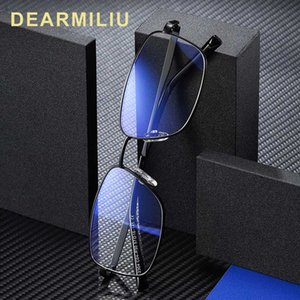 Light Blue de DEARMILIU 2020 New Men bloqueio óculos retangulares Metal Frame Retro espelho plano Reading Computer Óculos Gafas