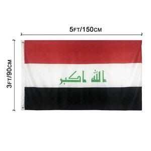 Iraq Flag 3x5FT 150x90cm stampa del poliestere National Indoor Outdoor Hanging contrassegna con ottone Occhiello di trasporto