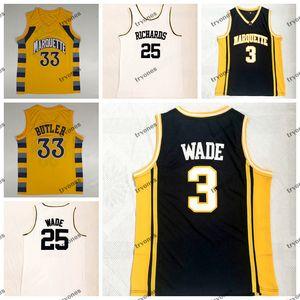 Marquette vintage Golden Eagles Dwyane Wade 3 Jimmy Butler 33 College Basketball Jerseys Richards High School 25 Wade White Shirts