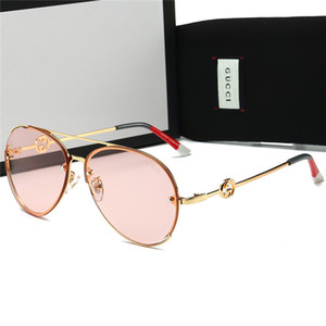최고 품질 타원형 유리 렌즈 패션 여성 명품 선글라스 명품 브랜드 운전 Adumbral 금속 고대의 안경 상자-14