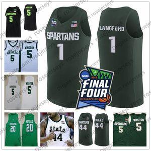 Customized 2020 MSU Spartans # 1 Joshua Langford 30 Marcus Bingham Jr. 44 Gabe Brown 3 Foster Loyer Uomini Gioventù Kid Michigan State Jersey