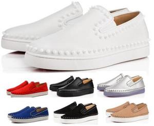 Мужчины Женщины Шипы Red Bottom Повседневная обувь кроссовки 2020 Новое прибытие моды Pik лодка Flats низкий фиолетовый замша натуральная кожа Man Женские туфли