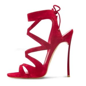 Vendita calda -Red Flock Leather Cross Strap caviglia Lace Up Hollow Out Sandali Estate Fashion High Thin Metal Heel 12cm Partito Scarpe