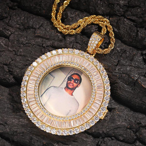 Designer Luxury Real Gold Plated Bling Diamond Custom Photo Round Medallion Pendant Necklace Square Zirconia DIY Jewelry Gifts for Men Women